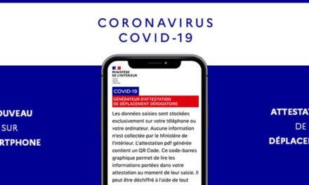Covid-19 : Attestation de déplacement sur smartphone