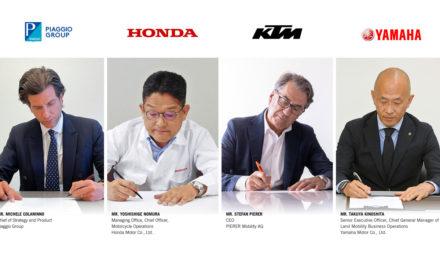 Honda, KTM, Piaggio, Yamaha : Signature officielle de l'accord de création du Consortium pour motos à batteries interchangeables